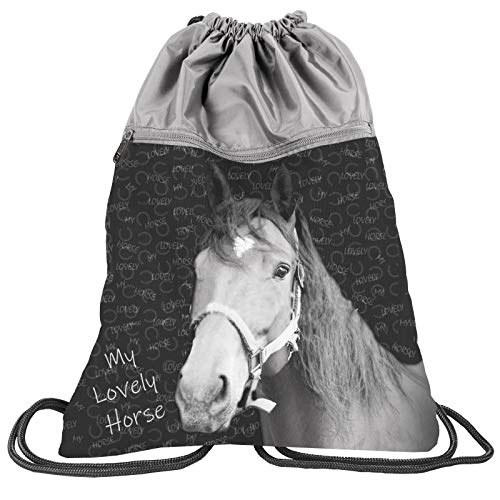 PASO - PFERDE Borsone sportivo per bambini, 43 x 34 cm, motivo: cavallo, My Lovely Horse – Grigio., 43 x 34 CM