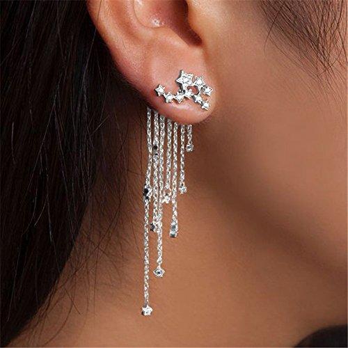 Damen Ohrringe Lang Quaste Anhänger Stern Langer Abschnitt der Asymmetrischen Ohrhänger Kettchen Silber Gold