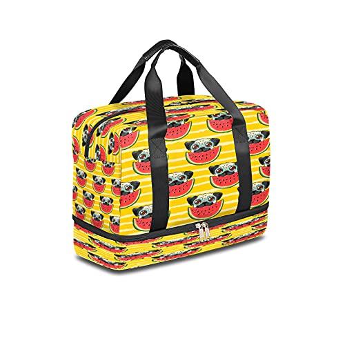 Sport-Turnbeutel für Hunde, mit Wassermelonen-Streifen, leichte Reisetasche mit nassen Taschen und Schuhfach, wasserdichte Seesack für Männer und Frauen
