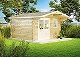 [page_title]-Alpholz Gartenhaus Erki-44 C aus Massiv-Holz | Gerätehaus mit 44 mm Wandstärke | Garten Holzhaus inklusive Montagematerial | Geräteschuppen Größe: 410 x 410 cm | Satteldach