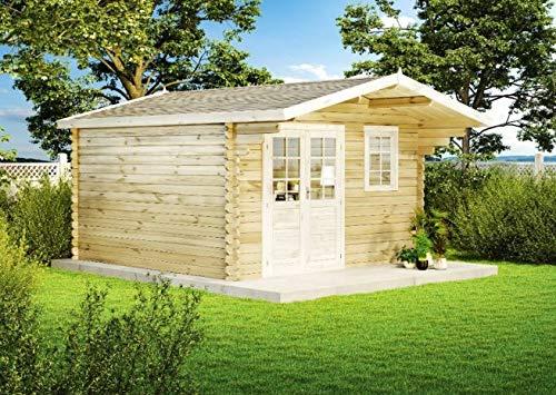 Alpholz Gartenhaus Erki-44 C aus Massiv-Holz | Gerätehaus mit 44 mm Wandstärke | Garten Holzhaus inklusive Montagematerial | Geräteschuppen Größe: 410 x 410 cm | Satteldach