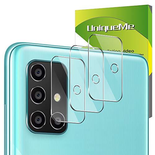 UniqueMe [3 Pack] Protector de Lente de cámara para Samsung Galaxy A71, Vidrio Templado [9H Dureza] HD Film Cristal Templado