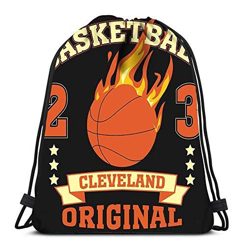 N / A Kordelzug Rucksack Cleveland Ohio Sport Basketball Burning Ball Champion College Team Yoga Runner Daypack Schuhbeutel 36 x 43 cm / 14,2 x 16,9 Zoll