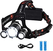VicTsing Linterna Frontal Recargable LED Alta Potencia 6000 Lúmenes, Linterna Cabeza con 4 Modos, Automomía hasta 8H,...