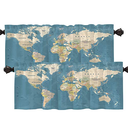 Batmerry World Map Kitchen Valances Half Window Curtain, Vintage Map of Europe in Color Valances for Windows Living Room Bedroom Heat Insulated Valance for Decor Reducing The Light 52x18 Inch