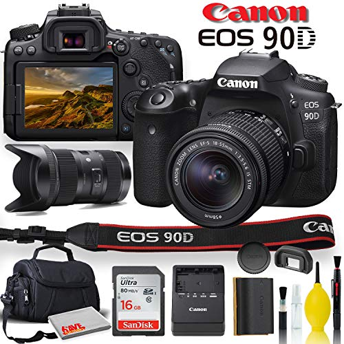 Canon EOS 90D DSLR Camera with 18-55mm Lens, Sigma 18-35mm Lens, Soft Padded Case, Memory Card, and More (International Model)