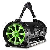 auna Soundstorm 2.0 tragbarer Lautsprecher Boombox Ghettoblaster (Bluetooth- / NFC-Schnittstelle, MP3-fähiger USB-Port, UKW Radio, AUX-Eingang, LCD-Display, LED-Beleuchtung, Akku-Betrieb) schwarz