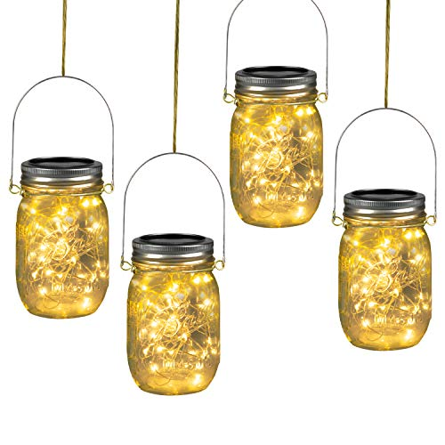 Brightown 30 Led Solar Powered Mason Jar Lights Hanging Lights, Starry Fairy String Hanging Jar Lights, Best for Outdoor Patio Party Wedding Decor Lights, Warm White (4 Pack (Jars Included))