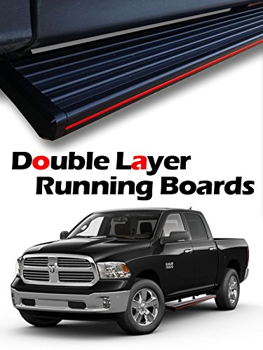 "MPH Auto 5.5"" Wide Stylish Running Boards Custom Fit 2009 2010 2011 2012 2013 2014 2015 2016 2017 2018 Dodge Ram 1500 Quad Cab (Extended Cab) Black Side Step Bar (2pcs; with Mounting Kit) mj-039-r"