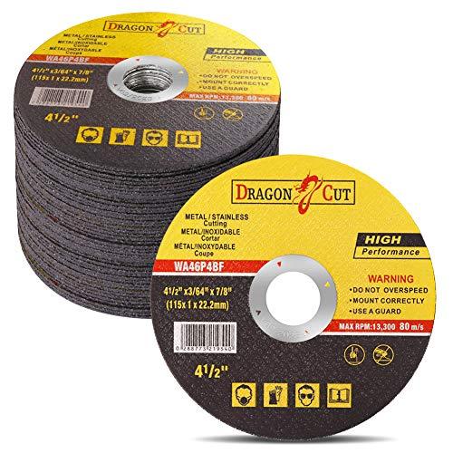 "50-Pack 4-1/2-Inch Cut-off Wheels, Type 1 | General Purpose Metal Cutting Wheels | Thin Metal Cutting Discs Fit All Brand 4.5"" Angle Grinders Dewalt DWE402, Makita 9557PBX1 and More"