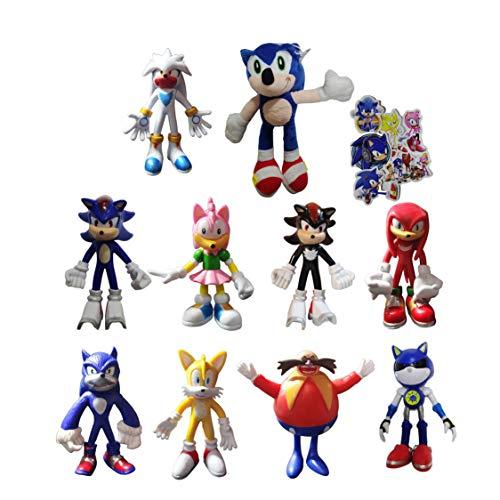XIANGAN Sonic 9 unids/Set Figura + 1 Plush Sonic Plush Doll Toys Peluche Sonic соник игрушка Sonic Plush Cartoon Animal Soft Stuffed Sonic Dolls para Regalos de bebé