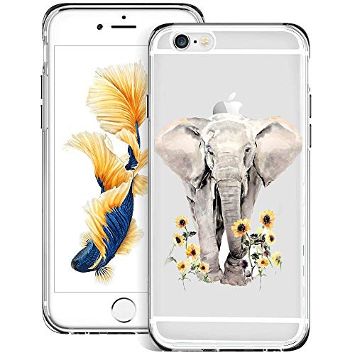 Slim Clear Elephant Sunflower Case for iPhone 6s 6 Customized Design Soft TPU and Rubber Flexible Durable Shockproof iPhone 6s 6 Protective Case-Anti-Slippery