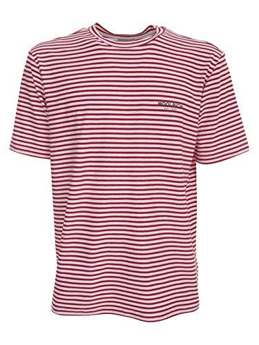WOOLRICH T-Shirt Uomo WOTE0032MR 5385 Rossa e Bianca Girocollo morivo a Strisce PE20 XXX