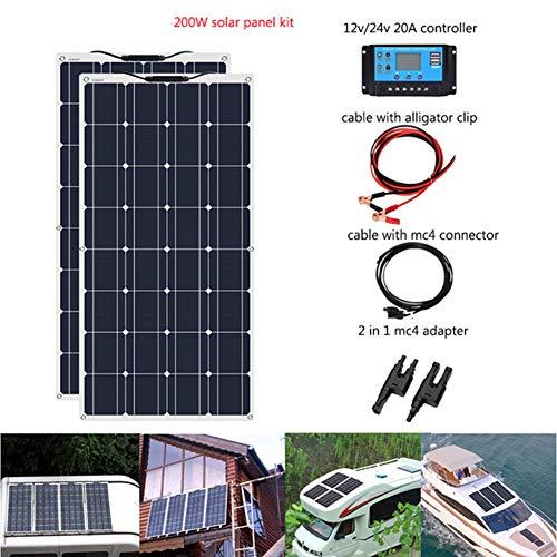 LAMP-XUE Sonnenkollektor 100W 200W 12V Flexible System Kits Ladegerät Monokristalline Module 10A 20A Laderegler PV-Anschlusskabel für Auto-RV Boot Cabin Trailer,200w