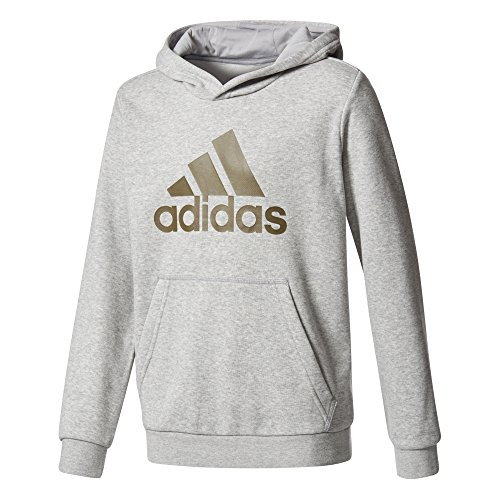 Adidas Yb Logo Sudadera Niño, Gris (Medium Grey Heather/Trace Olive), 128