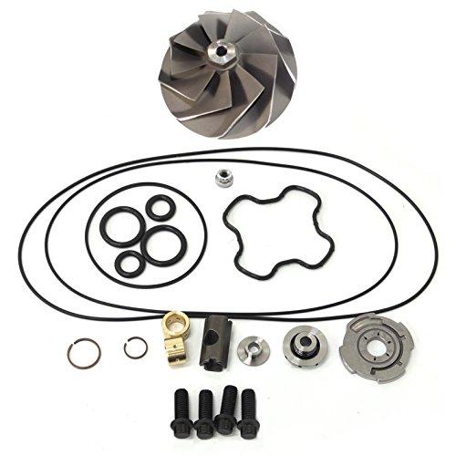 Powerstroke 7.3L GTP38 Turbo Compressor Wheel + Upgrade Rebuild Kit-Stepped Gap Piston Ring 360° Thrust Bearing