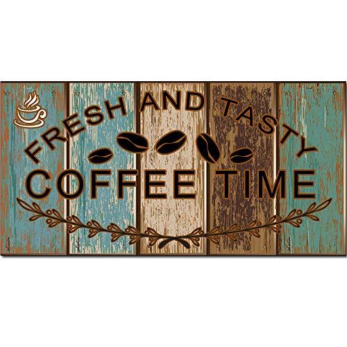 5562 Arte de pared de madera maciza con diseño retro, diseño de café, decoración de pared para café/cocina/cafetera