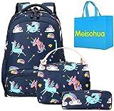 Meisohua Unicorno Zaino Scuola Elementare Impermeabile Zaini Bambino Sacchetti di Scuola Per Ragazze leggero campeggio borse casual Daypacks per adolescenti studenti 3 pezzi (Deep Blue)