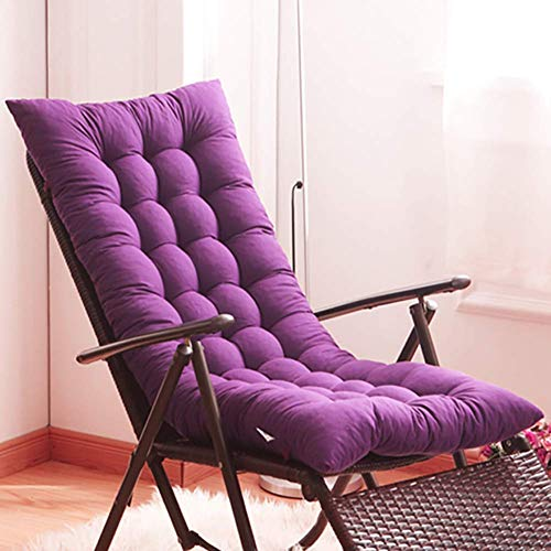 YXZQ Espesar Almohadillas de Silla Cojín de Silla Cojín de Patio de jardín Asiento Chaise Longue Cojín de Respaldo Alto Cojín de tumbona-175x48x8cm púrpura