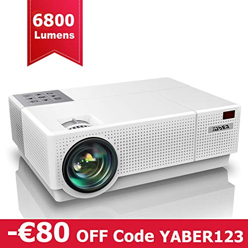 Proiettore, YABER 6800 Lumen Videoproiettore 1080P Nativa (1920x1080) ±50° Trapezoidale Correzione Led Full Hd 300' Videoproiettore Domestico Per Iphone, Smartphone, Pc, Tvbox, Laptop, Ps4
