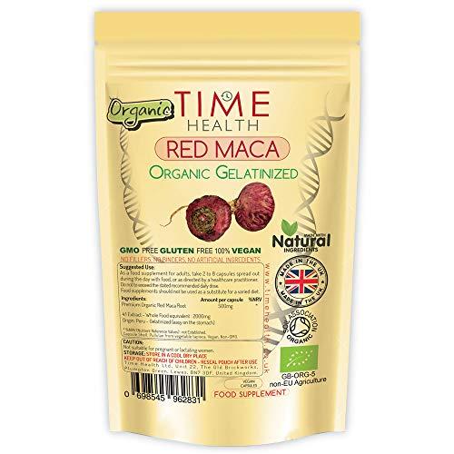 Rote Maca Wurzel – 2000 mg pro Kapsel – Gelatiniert – Bio-zertifiziert aus den hohen Anden Perus – Natürlich – Ohne Zusätze