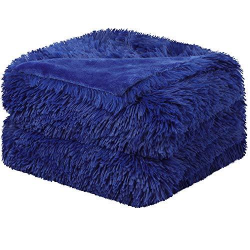 sourcing map Kuscheldecke Wohndecken Überwurf Super weiche Lange zottige warme Elegante gemütliche Decke Königsblau 130x150cm