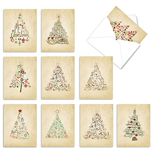 The Best Card Company - 10 Blank Christmas Note Cards with Envelopes (4 x 5.12 Inch) - Fun Assorted Holiday Notecard Set - Retro Tannenbaum M6648XSB