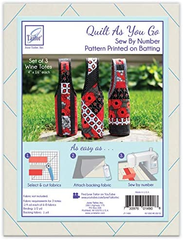 JUNMN Quilt As You Go Wine Totes Sew by Number White product image