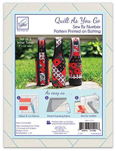 JUNMN Quilt As You Go Wine Totes Sew by Number, White