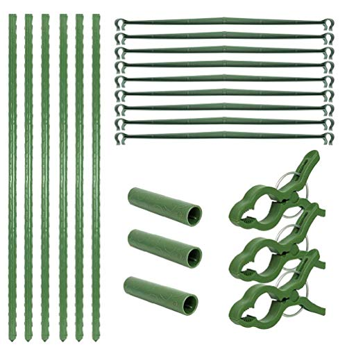 N/A/ 9 estacas de jardín para jaula de tomate + 3 tubos de conexión + 6 tubos largos + 3 clips de sujeción para plantas trepadoras de vid