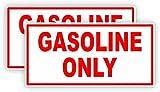 (2) Gasoline Only Vinyl Decals | Stickers | Labels Fuel Gas Can Tank Pump Door Weatherproof