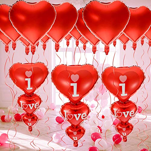 Buy Pack of 44 Valentine's Day Balloons Kit, 40+ 4 I Love You Balloons and Heart Balloons Kit Foil M...