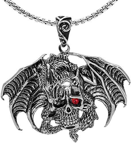 DUEJJH Co.,ltd Punk Rock Titani Colgante de Acero Colgante de alas de dragón Colgante de Calavera Collares de Cadena de Cristal