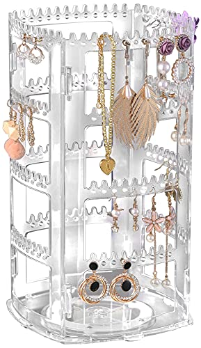 360 Degree Acrylic Earring Holder, 4 Layers Jewelry Hanger Organizer Tree Display Stand for Earrings Bracelets Necklaces, Clear by Sooyee