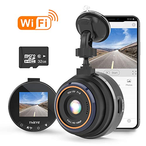 THiEYE Dash Cam WiFi, Dashcam for Car Driving Recorder 1080P FHD LCD Screen Driving Recorder, Phone App, Night Vision, Wide Angle Lens, G-Sensor, WDR, Loop Recording, SD Card Included Audio Cameras Car On-Dash