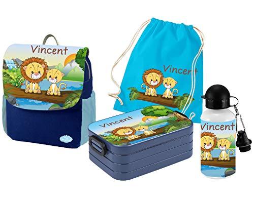 Mein Zwergenland   Personalisiertes Kindergartenrucksack-Set   Happy Knirps Next Print   Kinderrucksack, Lunchbox Maxi, Trinkflasche, Turnbeutel mit Name   Blau   Löwen