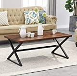 O&K Furniture Farmhouse Industrial Cocktail Coffee Table with X-Shaped Frame for Living Room and Office, Brown, 1-Pcs
