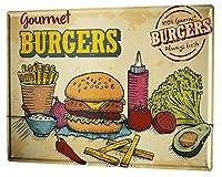 なまけ者雑貨屋 Kitchen Gourmet Burgers アメリカ ン 雑貨 メタル ブリキ 看板 アンティーク レトロ 壁飾 20x30cm