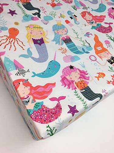 Fitted Crib Sheet, Mermaid Bedding for Magical Nursery, Handmade in USA