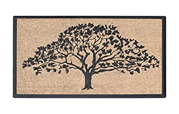 A1 Home Collections A1HC First Impression A1HOME6473-30X48 Hand-Crafted Rubber Coir Double Door Mat 30  X 48  US National Oak Tree Black