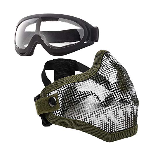 Anyoupin Airsoft Mask and Goggles Set Adjustable Metal Steel Mesh Half Face Mask with Ultra-Violet Protective Outdoor Glasses Goggles for Paintball Shooting Cosplay War Game Green Skull & Goggles