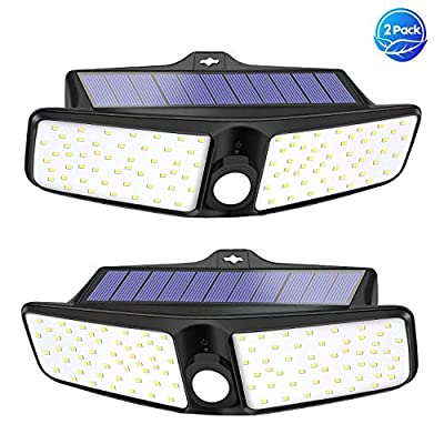 VOSONX Solar Lights Outdoor | Motion Sensor Security Lights (2 per Pack) - Wireless, Wall Mounted Rechargeable Flood Lights - Solar Powered LED Lights