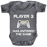 ShirtStreet Vatertag Gamer Geek Nerd Strampler Bio Baumwoll Baby Body kurzarm Player 3 has entered...