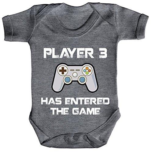 ShirtStreet Vatertag Gamer Geek Nerd Strampler Bio Baumwoll Baby Body kurzarm Player 3 has entered the Game, Größe: 0-3 Monate,Heather Grey Melange
