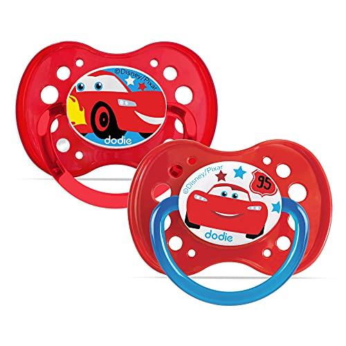Dodie - Chupete anatómico Duo Cars A68+ 6meses rojo Talla:+18 mois
