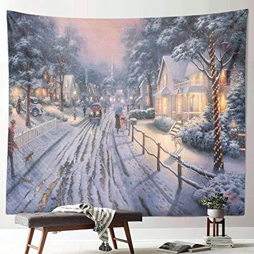 Nueva escena de nieve navideña tapiz decoración año nuevo tela arte colgante pintura pared colgante tela de fondo A1 130x150cm