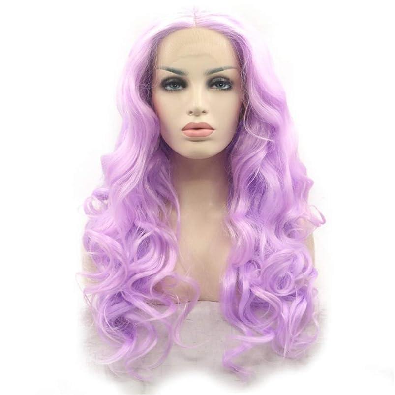 食料品店降伏保護BOBIDYEE レディースファッションビッグウェーブのかかった長い巻き毛のアニメのコスプレウィッグかつらキャップ付きかつら合成髪レースかつらロールプレイングかつら (色 : 紫の)