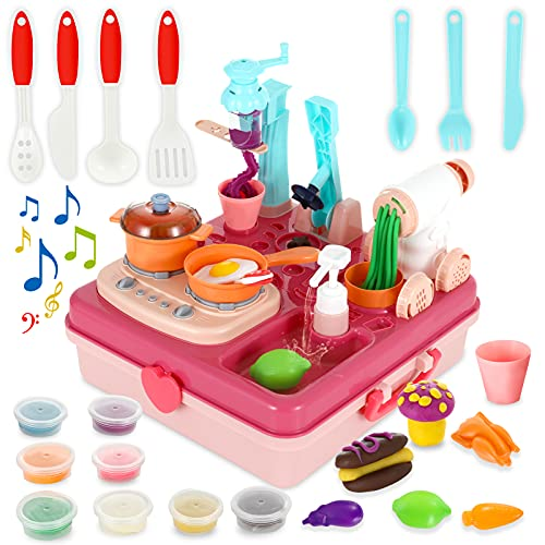 Playdough Sets for Toddlers and Kids, Play Dough Kitchen Creations DIY Machine for Girls, Boys 3,4 5,6,7,8 Years Old , Pretend Playset - Ice Cream & Noodle Maker, Cooking & Sink Toy with Light,Sound