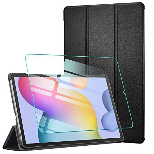 AROYI Custodia Cover Compatibile con Samsung Galaxy Tab S6 Lite 10.4 con Vetro Temperato, Ultra Sottile Magnetica Custodia in Pelle PU Case con Auto Svegliati/Sonno (P610 / P615) Pollici, Nero
