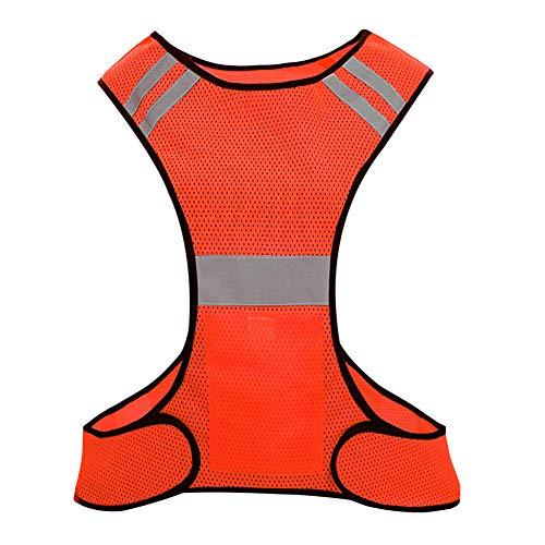 Biqing Sicherheitswesten,Warnweste,Atmungsaktiv&Leicht Reflektierende Weste für Outdoor-Aktivitäten Lauf Damen Herren.(Orange)